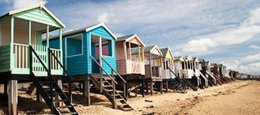 beach huts, thorpe bay beach, essex