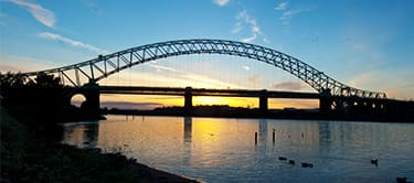 widnes bridge at sunset