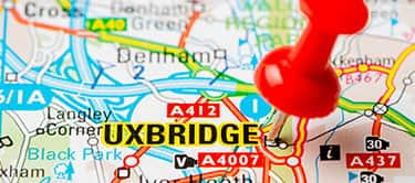 uxbridge pinned on a map