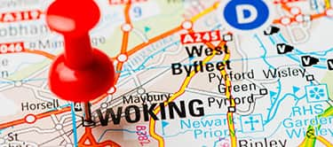 map with woking pinned