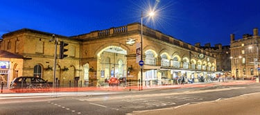 York Station exterior at night